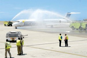 Insel Air arrives at Norman Manley International Airport