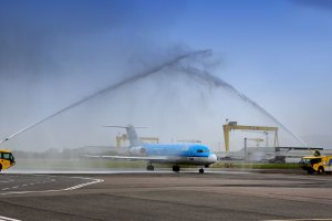 WATER CANNON SALUTE - ROUTES EUROPE ARRIVES AT GEORGE BEST BELFAST CITY AIRPORT