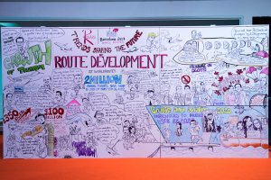 Visualising the future of aviation: The World Routes trend wall