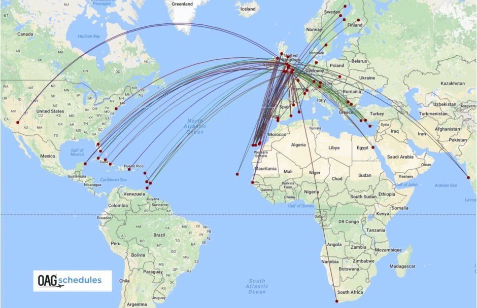 Thomas Cook route map Q1 2017