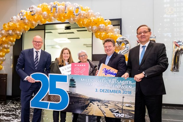 MILESTONE IN AIRPORT HISTORY: VIENNA AIRPORT WELCOMES ITS 25 MILLIONTH PASSENGER