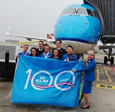 Brussels Airport celebrates KLM - Royal Dutch Airlines' 100th anniversary.