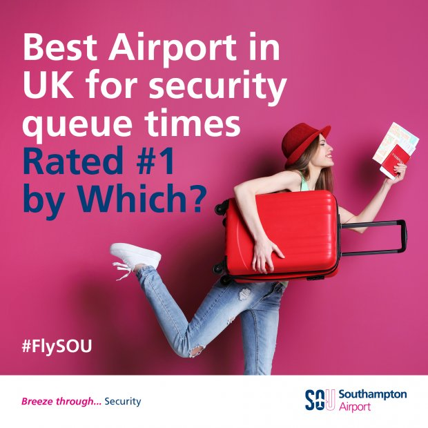 Southampton Airport has been rated the best airport in the UK for security queue times by consumer experts Which?