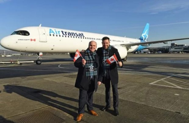 Air Transat marks first ever arrival of Airbus A321neoLR at Glasgow Airport