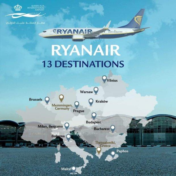 Ryanair operates 2 new direct flights connecting Jordan