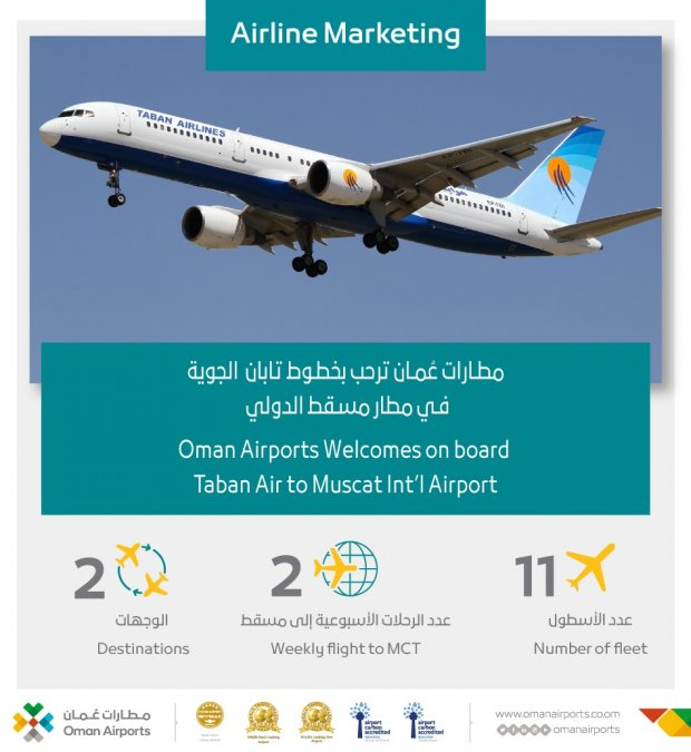 Oman Airports Welcomes On Board Taban Air to Muscat Int'l Airport