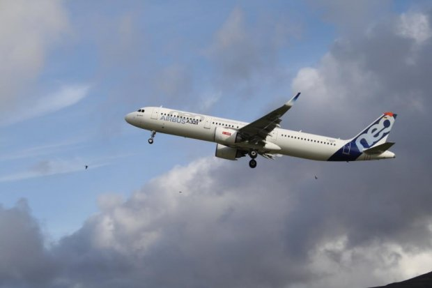 Airbus A321 neo test flight at Vagar Airport