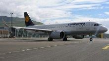 Lufthansa Airbus A320 neo at Vagar Airport