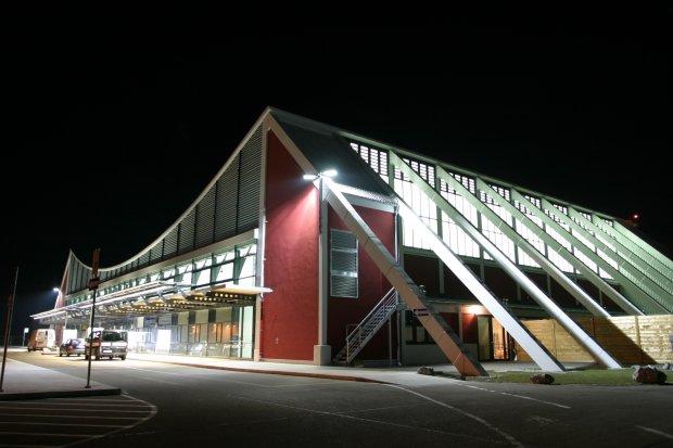 Memmingen Airport at night