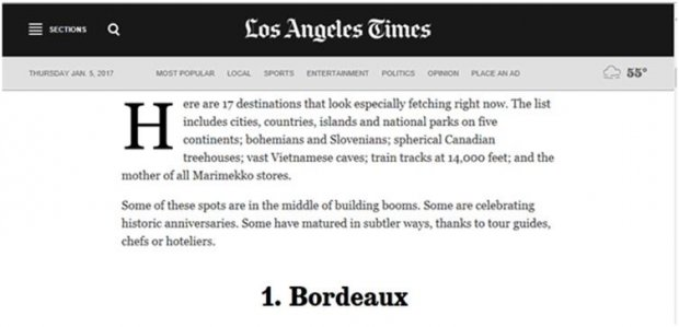 Bordeaux elected top 2017 destination to travel to by Lonely Planet and Los Angeles times