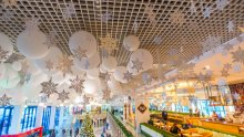 Festive decorations at Chisinau Airport