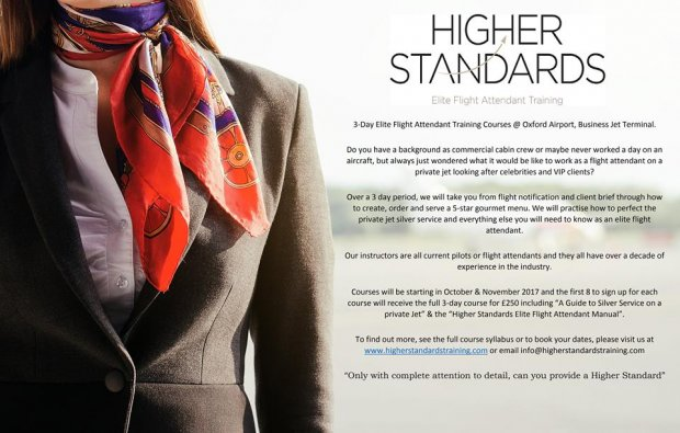 VIP Flight Attendant training courses at London Oxford later this year.
