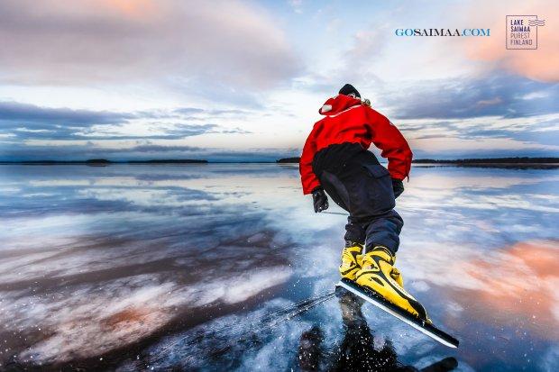 Nordic skating at Lake Saimaa