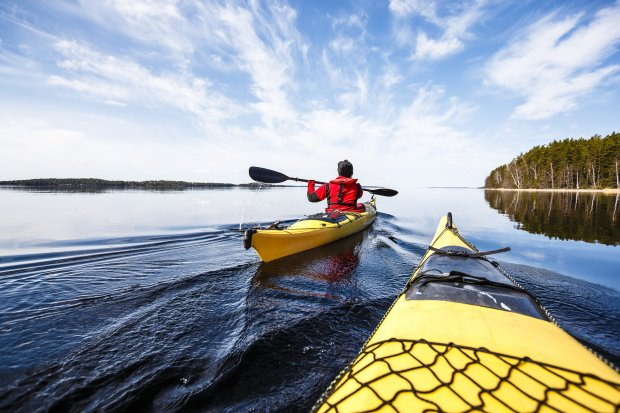 Paddling at Lake Saimaa