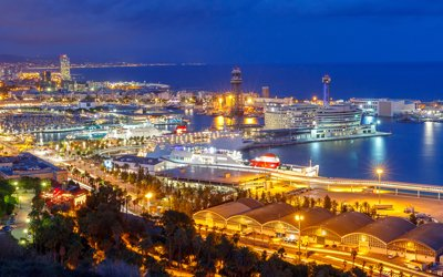 Cruise Shipping Port at Night, Barcelona