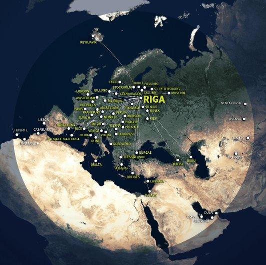 airBaltic CSeries Range Map