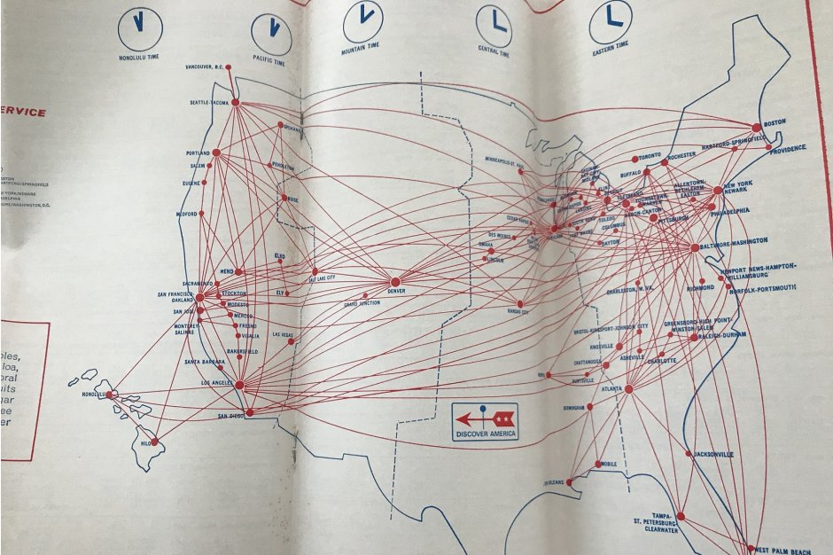 United's route map in winter 1970