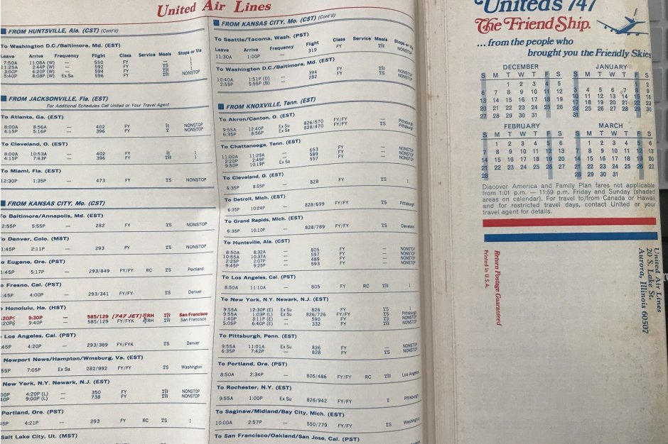 United's winter 1970 schedule for Kansas City