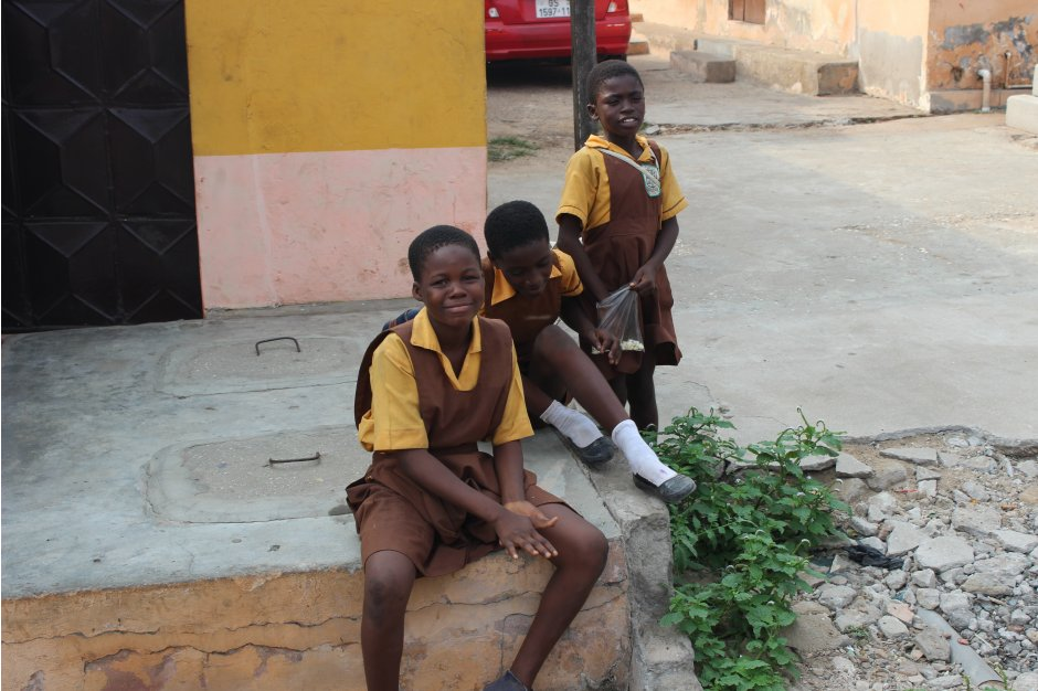 Children waiting after school for their class