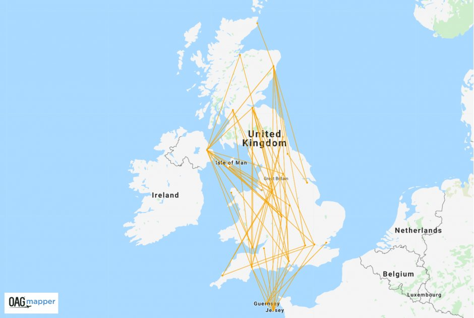 Flybe domestic network jan 2020