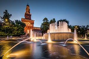 Castello Sforzesco Fountain © Depositphotos 300x200