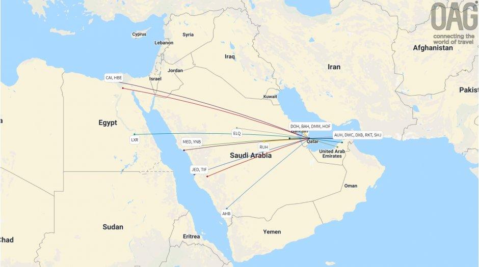 RoutesSuspended—QatarAirways